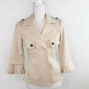 Carlisle Cotton Ruffle Sleeve Khaki Jacket US 0